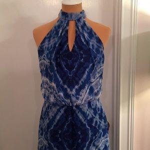 Bisou Bisou Blue Tie Dye Size 8 Halter Dress